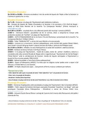 Programa de la Festa i Fira de Muntanya a Coll de Nargó 2021
